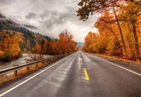 Обои Дорога, road, осень, горы, река, листья