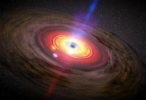 Обои Галактика, звезды, квазар, круги, черная дыра
