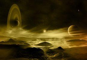 Обои звезда, планеты, поверхность, туманность, кольца, гейзер
