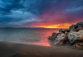 Обои берег, море, камни, закат, песок