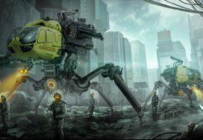 город, солдаты, разрушение, фантастика, роботы