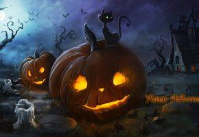хэллоуин, тыквы, горящие, кот, свечи, домик, ночь, туман, огонь, луна, летучие мыши