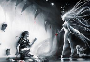 Обои девушка, ангел, крылья, мужчина, листы, книга