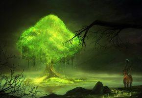 Обои Лес, дерево, зелень, животные, ветки
