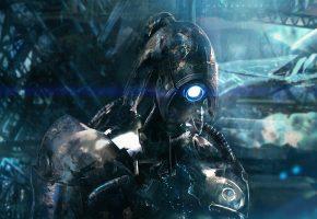 Обои легион, mass effect 2, legion, робот, металл, броня