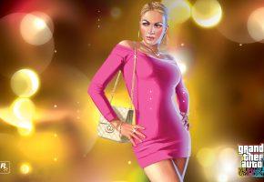 Обои Grand Theft Auto, GTA, девушка, платье, розовое