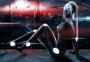Обои арт, тело, киборг, город, девушка, костюм, огни