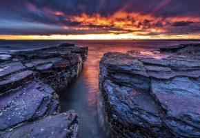 море, побережье, камни, горизонт, небо, закат