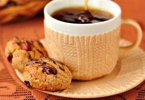 Обои десерт, чашка, печенье, cup, coffee, кофе