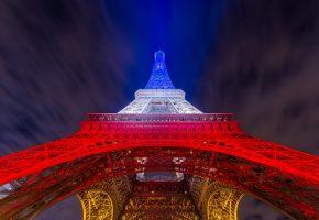 эйфелева башня, Париж, огни, небо