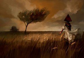Обои фэнтази, девушка, платье, тьма, поле, дерево