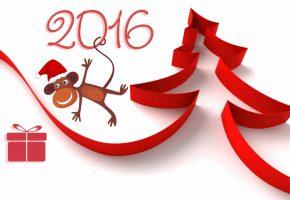 новый год, 2016, обезьяна, рисунок, ёлка, лента, подарок, коробка, цифры