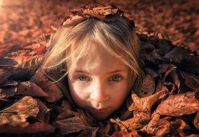девочка, ребенок, взгляд, листья, солнце