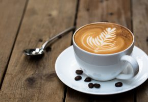 Обои Кофе, чашка, блюдце, зерна, узор, coffee, cup