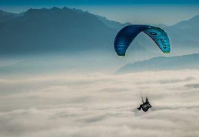 Обои параплан, небо, парашют, полет, облака