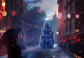 Обои новый год, рождество, елка, улица, арт, снег, вечер, человек, настроение
