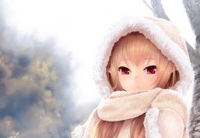 девочка, аниме, зима, шарф, капюшон, глаза
