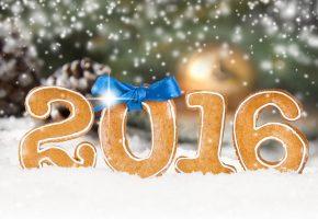 Обои Happy, New Year, cookies, Новый год, 2016, печенье, бантик