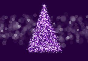 елка, огни, новый год, фон, украшения