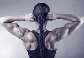 Обои девушка, спина, мышцы, плечи, руки