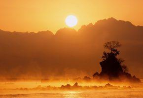 озеро, Яманака, Япония, туман, камни, деревья, скала, горы, солнце