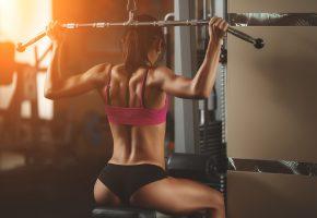 Обои girl, девушка, спина, gym, тренажерный зал, попка