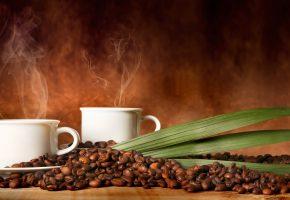 кофе, чашки, дымок, кофейные зёрна