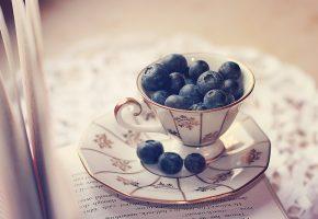 Обои книга, страницы, чашка, блюдце, ягоды
