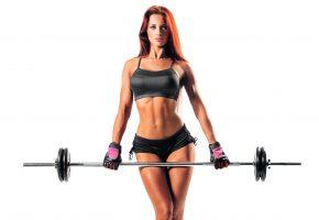 Обои Фитнес, девушка, модель, рыжеволосая, тело, животик, ножки, шорты, штанга, фигура