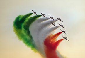 самолёты, дым, шоу, полет, строй