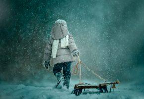 снег, санки, ребёнок, зима