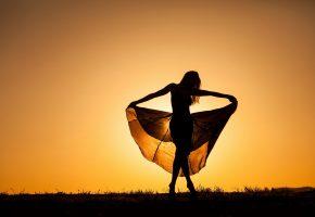 Обои закат, девушка, танцует, силуэт, платье