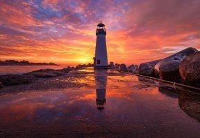 Обои закат, агонь, маяк, пирс, море