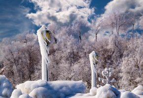 зима, фонари, снег, лед, сосульки