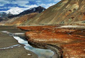 Обои Памир, небо, облака, горы, река