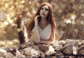 девушка, задумчивость, настроение, камни