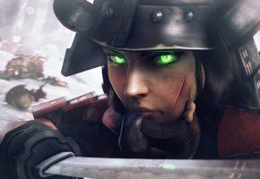 Обои BioShock Infinite, Elizabeth, самурай, зима, меч, катана, взгляд, шлем, девушка