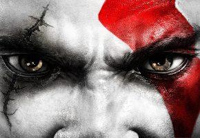 God Of War, Кратос, глаза, лицо, шрам