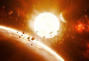Обои вселенная, звезды, планеты, астероиды, огонь