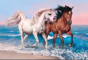 Обои horse, sky, hair, sea, beach, лошади, бег, море, поляж