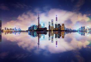 Обои Китай, вода, отражения, здания, вечер, огни