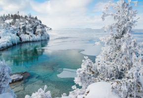 Обои Canada, Джорджиан-Бей Национальный парк Брус, Онтарио, Канада, залив, зима, снег, лёд, дерево