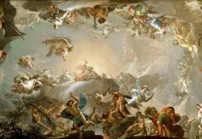 Обои Олимпийцы, Бой с Гигантами, картина, мифология, боги, титаны, живопись