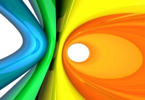 цвета, Абстракция, кольца, 3Д, краски