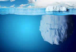 айсберг, океан, лед, снег, небо, волна, облака, вершина