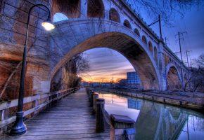 Обои Philadelphia, США, мост, канал, фонарь, вечер