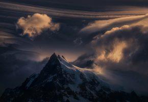 Обои гора, вершина, снег, природа, облака, закат