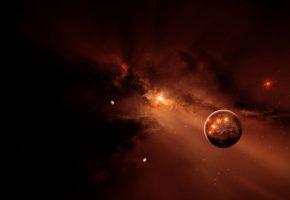 Обои планета, туманность, вспышка, космос, звёзды