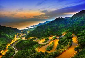 Обои закат, горы, облака, дорога, вид сверху, Тайвань