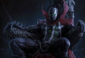 Спаун, Spawn, кровь, монстр, трон, цепи